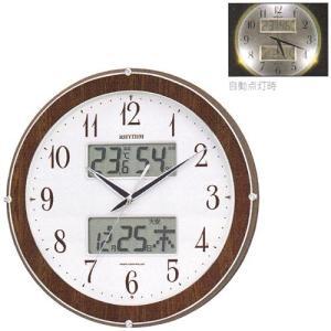壁掛け時計 ライト付 温湿度計 カレンダー付 電波時計 4FY622SR23  文字入れ対応、有料 取り寄せ品 morimototokeiten