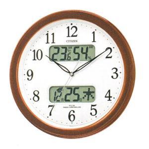 壁掛け時計 シチズン 電波時計 CITIZEN 温湿度計 カレンダー付き 暗くなると音の静かな 掛時計 ネムリーナ 4FYA01-006 文字入れ対応、有料 ZAIKO|morimototokeiten