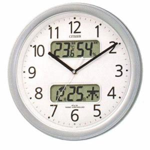 壁掛け時計 シチズン 電波時計 CITIZEN 温湿度計 カレンダー付き 暗くなると音の静かな 掛時計 ネムリーナ 4FYA01-019 文字入れ対応、有料|morimototokeiten