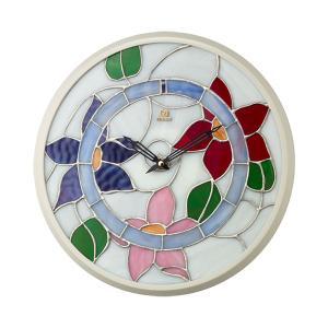 ステンドグラス 壁掛け時計 RHG-M117 リズム RHYTHM 掛時計 4KG717HG03 文字入れ名入れ対応、有料 取り寄せ品|morimototokeiten