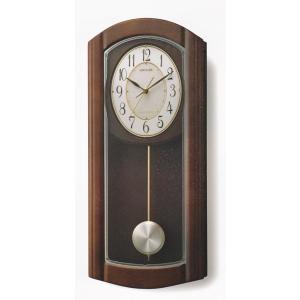 メロディ 振り子 柱時計 電波時計 リズム RHYTHM 壁掛け時計 4MN475HG06 文字入れ対応、有料 取り寄せ品|morimototokeiten