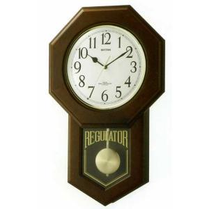 木枠の柱時計 電波時計 リズム RHYTHM モーランドR 壁掛け時計 4MNA06RH06 文字入れ対応、有料 取り寄せ品|morimototokeiten