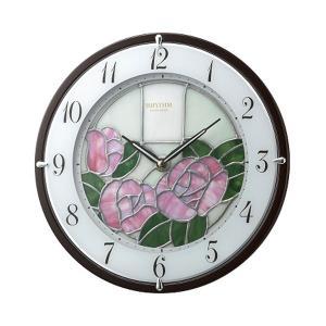 壁掛け時計 電波時計 4MY845HG13 ステンドグラス 掛時計 RHG-M005 リズム RHYTHM 文字入れ名入れ対応、有料 取り寄せ品|morimototokeiten