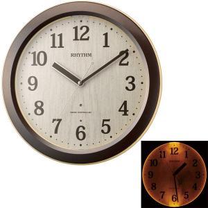 電波時計 4MYA33SR06 暗くなるとライトが点灯 音の静かな壁掛け時計 リズム時計 RHYTHM 文字名入れ対応、有料 取り寄せ品|morimototokeiten