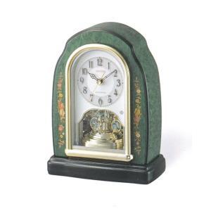 象嵌 回転飾り 置き時計 電波時計 リズム時計 RHYTHM 置時計 4RY678HG05 文字入れ対応、有料 取り寄せ品|morimototokeiten
