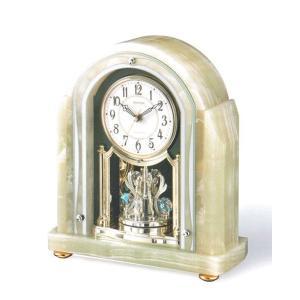 オニックス 回転飾り 置き時計 電波時計 リズム時計 RHYTHM 置時計 4RY692HG05 文字入れ対応、有料 取り寄せ品|morimototokeiten