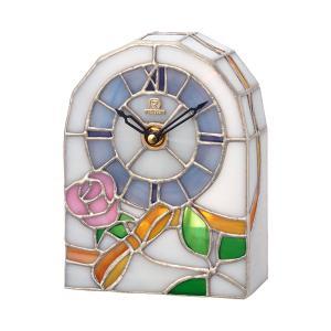 ステンドグラス 置き時計 リズム時計 RHYTHM 置時計 4SG795HG03 文字入れ対応、有料 取り寄せ品|morimototokeiten