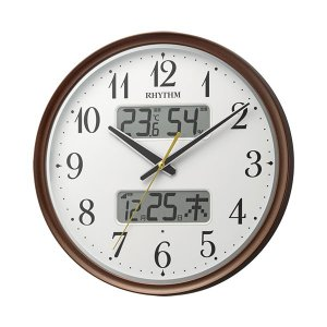 壁掛け時計 ライト付 温度湿度 カレンダー付 電波時計 8FYA04SR06 文字入れ対応、有料 取り寄せ品|morimototokeiten