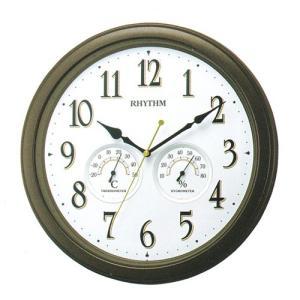 壁掛け時計 8MGA37SR06 温度湿度付 掛時計 リズム時計 RHYTHM 連続秒針 スイープ 文字入れ対応、有料 取り寄せ品|morimototokeiten