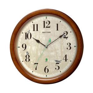メロディ電波時計 四季の野鳥 報時 壁掛け時計 4MN408SR06 掛時計 リズム時計 文字入れ対応、有料 取り寄せ品|morimototokeiten