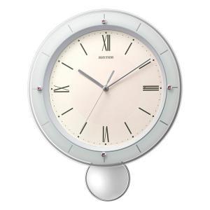 振り子付時計 壁掛け時計 電波時計 8MX408SR013 リズム RHYTHM ガラス面のみ文字書き対応、有料 取り寄せ品|morimototokeiten
