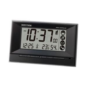 電子音 リズム時計 電波時計 ライト付 RHYTHM デジタル 目覚まし時計 8RZ207SR02 文字 名入れ対応、有料 取り寄せ品|morimototokeiten