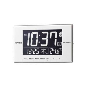 リズム時計 電波時計 家庭用コンセント使用 デジタル 電子音 目覚時計 8RZ209SR03 文字入れ対応、有料 取り寄せ品|morimototokeiten
