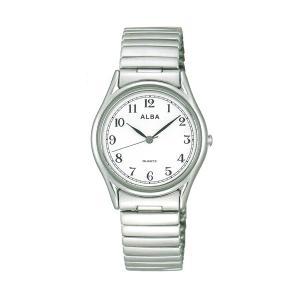 ALBA アルバ 伸縮バンド腕時計 男性用 AQGK439 電池式時計 蛇腹バンド じゃばら 伸び縮み 名入れ刻印可能、有料 取り寄せ品 morimototokeiten