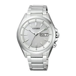 AT6040-58Aソーラー電波時計 日・曜日付 メンズ腕時計 シチズン アテッサ 紳士用 男性用 名入れ刻印対応、有料 取り寄せ品 morimototokeiten
