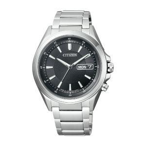 AT6040-58Eソーラー電波時計 日・曜日付 メンズ腕時計 シチズン アテッサ 紳士用 男性用 名入れ刻印対応、有料 取り寄せ品 morimototokeiten
