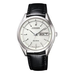 シチズン ソーラー電波時計 AT6060-00A 男性用腕時計 革バンド CITIZEN 刻印対応、有料 取り寄せ品|morimototokeiten