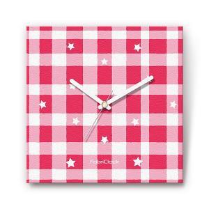 チェックスター をデザインしたファブリック(布地)掛け時計 四角 受注生産品 morimototokeiten