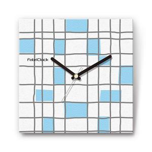ブルーブロック をデザインしたファブリック(布地)掛け時計 四角 受注生産品 morimototokeiten