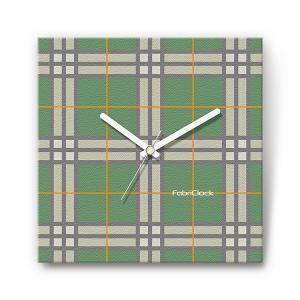 緑チェック をデザインしたファブリック(布地)掛け時計 四角 受注生産品 morimototokeiten