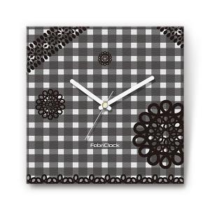 レースonチェック をデザインしたファブリック(布地)掛け時計 四角 受注生産品 morimototokeiten