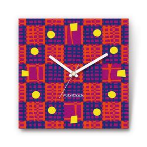 パッチワーク をデザインしたファブリック(布地)掛け時計 四角 受注生産品 morimototokeiten