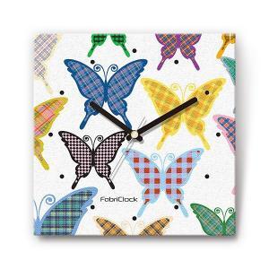 チェック蝶 をデザインしたファブリック(布地)掛け時計 四角 受注生産品 morimototokeiten