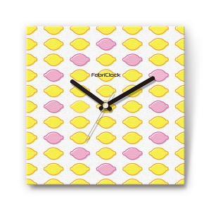 レモンパターン の食品をデザインしたファブリック(布地)掛け時計 四角 受注生産品 morimototokeiten