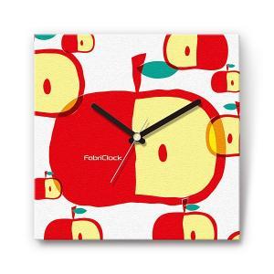 ビッグアップル の食品をデザインしたファブリック(布地)掛け時計 四角 受注生産品 morimototokeiten