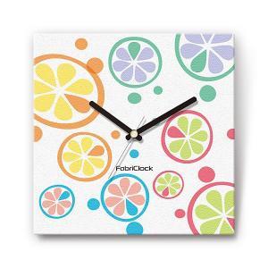 オレンジスライス の食品をデザインしたファブリック(布地)掛け時計 四角 受注生産品 morimototokeiten
