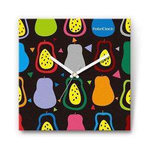 ラ・フランス の食品をデザインしたファブリック(布地)掛け時計 四角 受注生産品 morimototokeiten