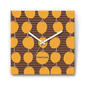 干し柿 の食品をデザインしたファブリック(布地)掛け時計 四角 受注生産品 morimototokeiten