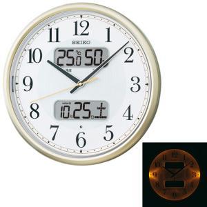 暗くなるとライトが点灯する壁掛け時計 温度湿度デジタルカレンダー 電波時計 掛時計KX384S セイコー SEIKO 文字入れ不可 ZAIKO|morimototokeiten