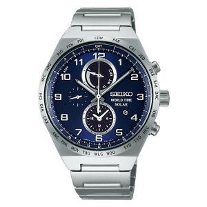 SEIKO SPIRIT 男性用 SBPJ023 セイコー クロノグラフ ソーラー メンズ腕時計 紺色系 名入れ刻印対応、有料 取り寄せ品|morimototokeiten