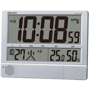 チャイム メロディを任意の時刻にセット SQ434S セイコー SEIKO 温度湿度表示つき置き掛け兼用デジタル電波時計 名入れ・文字書き、有料 取り寄せ品|morimototokeiten