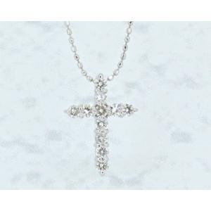 K18 ホワイトゴールド ダイヤモンド クロスネックレス morino-kyoto