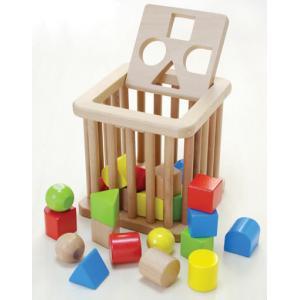 木のおもちゃ 形合わせ 積み木 ブロック 赤ちゃん だいわ 積木バスケット|morinokobito