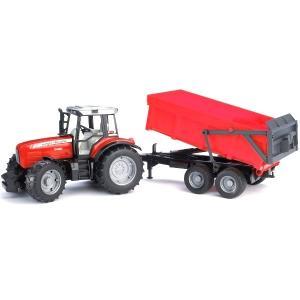 BRUDER MF7480 トラクター&レッドトレーラー 02045 morinokobito