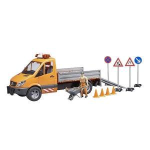 車 おもちゃ はたらく車 トラック BRUDER ブルーダー MB 工事作業車セット  フィギュア付き 02537|morinokobito