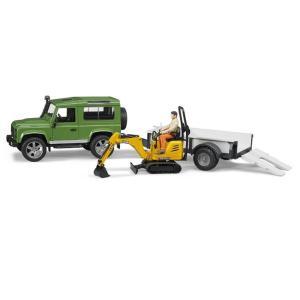 車のおもちゃ BRUDER ブルーダー Land Rover Def.ワゴン&JCBショベル牽引セット 02593 morinokobito