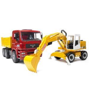 はたらく車のおもちゃ ダンプカー 重機 BRUDER(ブルーダー) MAN トラック&LHショベル 02751|morinokobito