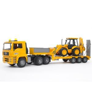 はたらく車 おもちゃ 1/16  トレーラー BRUDER(ブルーダー) MAN トラック&JCBバックホーローダー02776|morinokobito