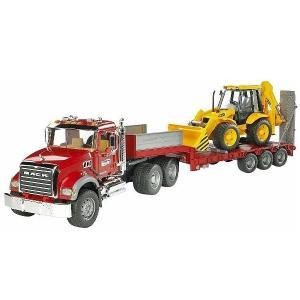 車 おもちゃ トレーラー ショベル BRUDER ブルーダー MACK トラック&JCB 4CX バックホーローダー 02813|morinokobito