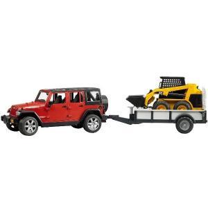 はたらく車のおもちゃ 4WD ショベル BRUDER Jeep Rubicon&CAT スキッドステアローダー 02925|morinokobito
