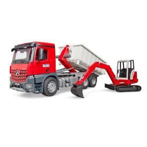 車 おもちゃ BRUDER ブルーダー MB Arocs コンテナBOX トラック&Schaeff HR16 ミニショベル 03624|morinokobito