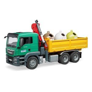 車 おもちゃ BRUDER ブルーダー MAN クレーン&リサイクルBOX ボトル付き 03753 morinokobito