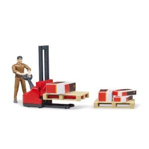 車 おもちゃ BRUDER ブルーダー b-world UPS物流作業員セット リフト機材付き 62210|morinokobito