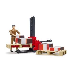 車 おもちゃ BRUDER ブルーダー b-world UPS物流作業員セット リフト機材付き 62210|morinokobito|02