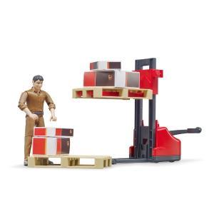 車 おもちゃ BRUDER ブルーダー b-world UPS物流作業員セット リフト機材付き 62210|morinokobito|03