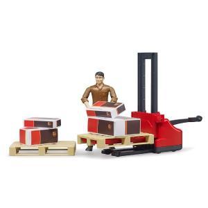 車 おもちゃ BRUDER ブルーダー b-world UPS物流作業員セット リフト機材付き 62210|morinokobito|04